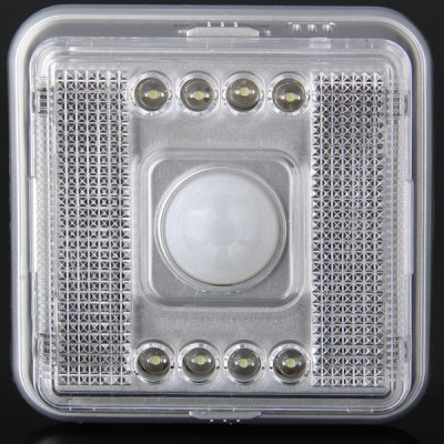 L0803 PIR Motion Activated Auto Keyhole Lamp 8 LEDs LightNight Lights<br>L0803 PIR Motion Activated Auto Keyhole Lamp 8 LEDs Light<br><br>Available Light Color: Cool White<br>Features: Low Power Consumption, Sensor, Energy Saving, Long Life Expectancy<br>Function: Home Lighting<br>Holder: Other<br>Luminous Flux: 190LM<br>Output Power: &lt;1W<br>Package Contents: 1 x L0803 PIR Motion Activated Keyhole 8 LEDs Lamp, 1 x Adhesive, 1 x User Manual<br>Package size (L x W x H): 10.00 x 10.00 x 4.00 cm / 3.94 x 3.94 x 1.57 inches<br>Package weight: 0.1000 kg<br>Product size (L x W x H): 8.80 x 8.80 x 3.00 cm / 3.46 x 3.46 x 1.18 inches<br>Product weight: 0.0640 kg<br>Sheathing Material: Plastic<br>Total Emitters: 8<br>Type: Sensor Light<br>Voltage (V): DC 3V<br>Wattage Range: ?5W