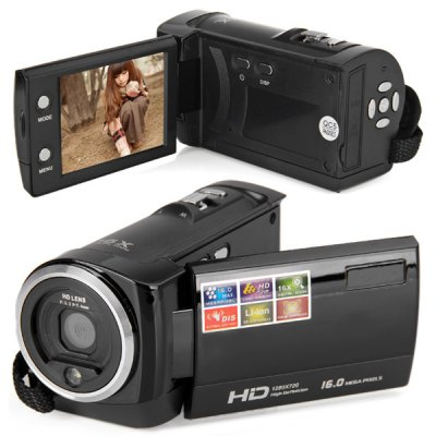 Practical HD 720P 2.7 inch TFT LCD 16.0MP Anti - shake Digital Video Camera Recorder for Home Entertainment ( AC 110  -  240V )Camcorders<br>Practical HD 720P 2.7 inch TFT LCD 16.0MP Anti - shake Digital Video Camera Recorder for Home Entertainment ( AC 110  -  240V )<br><br>Auto power off: Yes<br>Digital zoom: 16X<br>File format: JPEG, AVI<br>Frequency: 50Hz,60Hz<br>Function mode: Capture, Video<br>HD video: 1280 x 720<br>Image quality: Excellent<br>Image resolutions: 2048 x 1536 (3MP), 4608 x 3456(16MP), 640 x 480 (VGA), 1600 x 1200 (2MP), 4000 x 3000 (12MP), 2592 x 1944 (5MP)<br>Interface: SD Card Slot<br>Memory: Without memory<br>Memory support : SD card<br>Microphone: Built-in<br>Other Functions: Face Detection<br>Package Contents: 1 x 2.7 inch TFT LCD 16.0 Mega Pixel HD 720P Digital Video Camera Recorder, 1 x Power Adapter (US Plug), 1 x AV Cable, 1 x USB Cable, 1 x Lithium Battery, 1 x Bag, 1 x User Manual<br>Package size (L x W x H): 17.00 x 14.00 x 9.50 cm / 6.69 x 5.51 x 3.74 inches<br>Package weight: 0.4610 kg<br>Pixel: &gt;1300w<br>Product size (L x W x H): 10.00 x 5.50 x 5.50 cm / 3.94 x 2.17 x 2.17 inches<br>Product weight: 0.2380 kg<br>Screen size (inch): 2.7<br>Storage medium: DVD camcorder<br>Touch screen: No<br>TV System: PAL, NTSC<br>Video Resolution: 1280 x 720,640 x 480<br>White Balance: Automatic,Daylight,Sunlight
