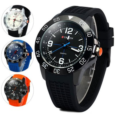 Curren 8181 Men Quartz Watch Round Dial Rubber Band
