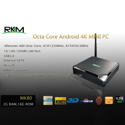 Rikomagic RKM MK80 2GB RAM 16GB ROM Allwinner A80 Octa Core 4K x 2K Android 4.4 TV Box H.265 HEVC Google TV Player with WiFi Bluetooth Function Support DLNA XBMC ( AC 100  -  240V / US Plug )