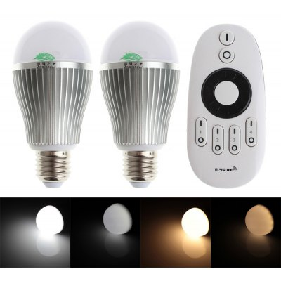 Set of 2 Zweihnder 9W E27 800lm Wireless IR Adjustable Color Globe Bulb (Remote Controller Included 3000 - 6000K)