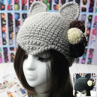 Female Thick Cat Ears Pattern Knitted Beanies Hat Knit Cap with Knitting Ball