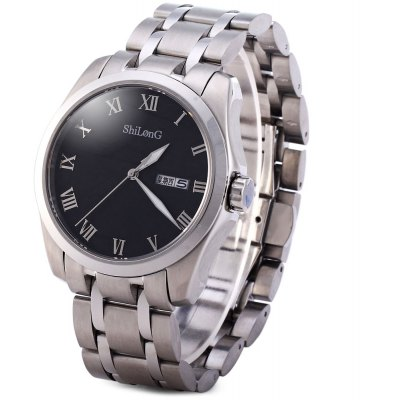 ShiLonG 8019G Male Quartz Sapphire Watch Japan Movt Water Resistant Round Dial with Day Date Function