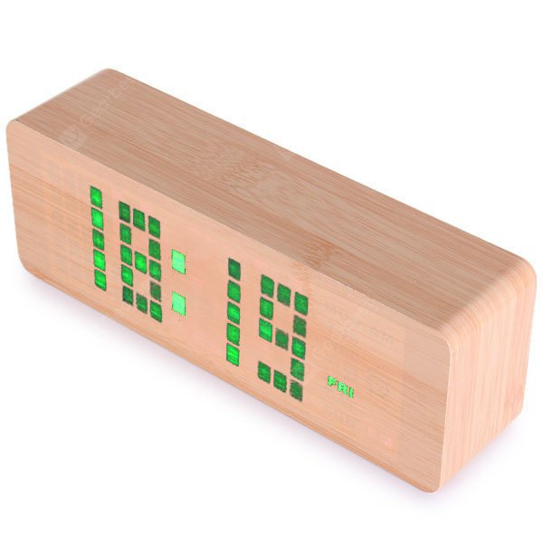 Novelty Green Light LED Wooden Electronic Alarm Clock with Sound Control Calendar Thermometer Functi