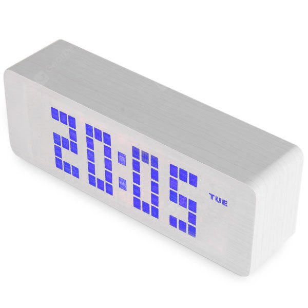 Novelty Blue Light LED Wooden Electronic Alarm Clock with Sound Control Calendar Thermometer Functio