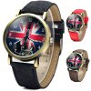 WoMaGe 1128 - 3 British Flag Pattern Quartz Watch Round Dial Leather Band for Woman