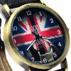 WoMaGe 1128 - 3 British Flag Pattern Quartz Watch Round Dial Leather Band for Woman photo