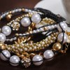 cheap Chic Women's Beads Rhinestone Inlaid Design Layered Bracelet
