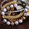 Chic Women's Beads Rhinestone Inlaid Design Layered Bracelet deal