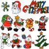 12pcs Removable Home Decor Novelty Xmas Wall Sticker Art Mural Christmas Outfit