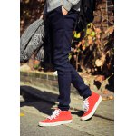 Buy Elegant PU Leather Low Waist Lace-Up Slimming Solid Color Narrow Feet Men's Thicken Pants 32 BLUE