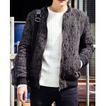 Buy Stylish Stand Collar Slimming Color Block Rib Splicing Long Sleeve Thicken Cotton Blend Coat Men M
