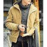 Buy Stylish Hooded Slimming Badge Design Letter Embroidered Long Sleeve Thicken Cotton Blend Coat Men M