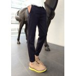 Buy Slimming Zipper Fly Fashion PU Leather Splicing Solid Color Narrow Feet Men's Woolen Blend Pants 34 DEEP BLUE