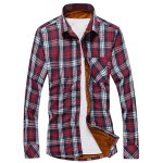 Buy Stylish Shirt Collar Slimming One Pocket Plaid Design Long Sleeve Thicken Cotton Blend Men L CHECKED