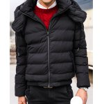 Buy Laconic Solid Color Fashion Hooded Slimming Rib Splicing Long Sleeves Men's Thicken Coat 2XL BLACK