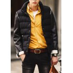 Buy Stylish Stand Collar Zipper Design Cuffs Slimming PU Leather Splicing Long Sleeves Men's Thicken Coat