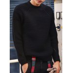Buy Laconic Round Neck Knitting Jacquard Slimming Hollow Design Long Sleeves Men's Thicken Sweater XL BLACK