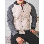 Buy Trendy Stand Collar Color Block Slimming Rib Splicing Long Sleeves Men's Thicken Baseball Coat XL OFF-WHITE