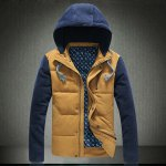 Buy Stylish Hooded Slimming Zipper Design Color Block Fabric Splicing Long Sleeve Thicken Cotton Blend Coat Men