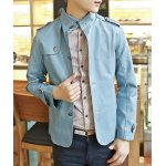 Buy Stylish Stand Collar Slimming Solid Color Epaulet Design Long Sleeve PU Leather Coat Men M LAKE BLUE