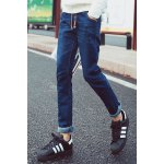 Buy Slimming Stylish Lace-Up Button Embellished Sutures Design Narrow Feet Jeans Men 31 BLUE