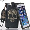 Jiong Bear Skull Pattern PU + PC 5.5 inch Phone Cover Case Skin with Lanyard for iPhone 6 Plus