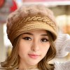 Chic Faux Fur and Splicing Design Solid Color Visor For Women