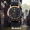 cheap kasi Y010 Fashion Roman Numerals Quartz Watch with Water Resistance Round Dial Leather Band