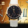 kasi Y010 Fashion Roman Numerals Quartz Watch with Water Resistance Round Dial Leather Band deal