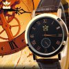 kasi Y010 Fashion Roman Numerals Quartz Watch with Water Resistance Round Dial Leather Band