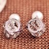 Pair of Faux Pearl Openwork Love Design Earrings deal