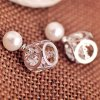 Pair of Faux Pearl Openwork Love Design Earrings for sale