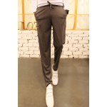 Buy Casual Style Lace-Up Color Block Stripes Embellished Loose Fit Narrow Feet Men's Harem Pants 2XL DEEP GRAY