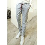 Buy Casual Lace-Up Letters Embroidery Loose Fit Zipper Design Cuffs Straight Leg Men's Pants M LIGHT GRAY