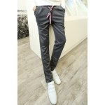 Buy Casual Lace-Up Letters Embroidery Loose Fit Zipper Design Cuffs Straight Leg Men's Pants 2XL