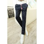Buy Casual Lace-Up Letters Embroidery Loose Fit Zipper Design Cuffs Straight Leg Men's Pants 2XL PURPLISH BLUE