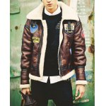 Buy Punk Badge Embellished Mao Collar Slimming Fur Purfle Long Sleeves Men's PU Leather Thicken Coat XL
