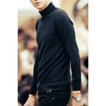 Buy Fashionable Turtleneck Solid Color Slimming Simple Design Long Sleeves Men's Knitwear XL BLACK