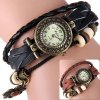 Yulan Ladies Quartz Watch with Flower Pendant Cow Leather Band Round Dial