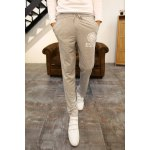Buy Loose Fit Stylish Lace-Up Badge Letter Print Narrow Feet Cotton Blend Sweatpants Men 2XL LIGHT GRAY