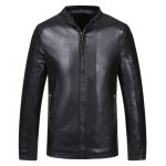 Buy Fashion Stand Collar Intarsia Pattern Slimming Zipper Cuffs Long Sleeves Men's Thicken PU Leather Coat