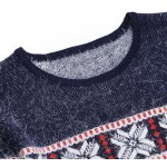 Buy Stylish Round Neck Geometric Jacquard Slimming Long Sleeves Men's Thicken Mohair Knitwear 2XL BLACK