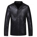 Buy Black Fashion Stand Collar Solid Color Slimming Zipper Cuffs Long Sleeves Men's Thicken PU Leather Coat-68.37 Online Shopping GearBest.com