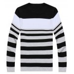 Buy Casual Round Neck Stripes Jacquard Slimming Color Block Long Sleeves Men's Sweater 2XL BLUE AND WHITE