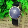 Baishuns Unisex Analog Quartz Watch Simple Round Dial Leather Strap