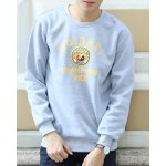 Buy Casual Round Neck Letters Badge Print Loose Fit Solid Color Long Sleeves Men's Sweatshirt 2XL LIGHT GRAY