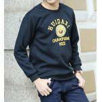 Buy Casual Round Neck Letters Badge Print Loose Fit Solid Color Long Sleeves Men's Sweatshirt L BLACK