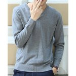 Buy Laconic Solid Color Exquisite V-Neck Slimming Long Sleeves Men's Cotton Sweater 2XL LIGHT GRAY