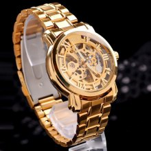 Mce IP Plating Automatic Mechanical Watch Male Hollow - out Wristwatch Alloy Body